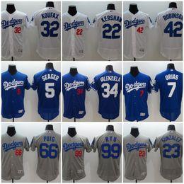 Wholesale clayton baseball - Dodgers Men Jerseys 5 Corey Seager 7 Julio Urias 22 Clayton Kershaw 23 Adrian Gonzalez 35 Cody Bellinger 42 robinson 21 Yu Darvish 66 Puig