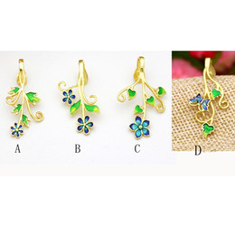Wholesale Yellow Gold Necklace Clasp - 5PCS LOT Real Sterling Silver 925 Plated Yellow Gold Cloisonne enamel Semi Mount Pendant Clasp Flower Fine Jewelry Art Deco Without Necklace
