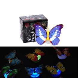 Wholesale Small Led Lights Decoration - Colorful 3D Butterfly Party Christmas Decoration LED Nightlight For Children Baby Bedroom Small Night Light Lamp Luminous Gift