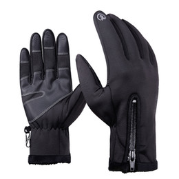 Wholesale Zipper Gloves - NEW 1 Pair outdoor -30 Degree Windproof Waterproof Unisex Touch Screen Gloves Sports Ski Riding Waterproof Zipper Gloves