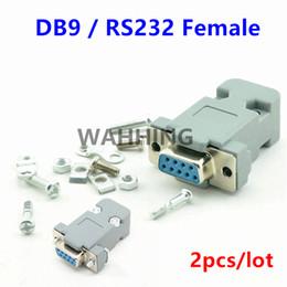 2019 câble série rs232 Vente en gros - 2 Set connecteur de port série RS232 DB9 prise femelle Connecteur 9 broches cuivre adaptateur RS232 COM avec boîtier en plastique DIY HY577 * 2 câble série rs232 pas cher