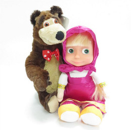 Wholesale Bears Sounds - Russian Masha And Bear Toys Doll Talk Singing Plush Toy Musical Russia Dolls Birthday Gifts 120pcs OOA3200