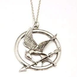 Wholesale Hunger Games Charms - The Hunger Games Necklaces Inspired Mockingjay And Arrow Pendant Necklace Authentic Prop imitation Jewelry Katniss Movie Wholesale DHL Free