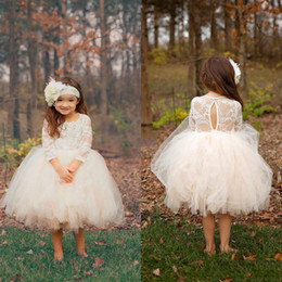 Wholesale Ivory Cream Wedding Dresses - 2017 Cream Boho Ball Gown Cute Short Flower Girls Dresses Sheer 3 4 Sleeves Knee Length Puffy Tulle Girls Birthday Pageant Communion Gowns