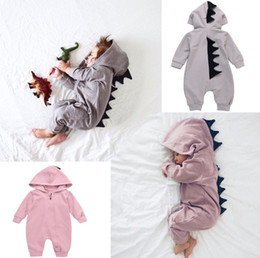Wholesale cartoon onesies - baby clothing Cartoon Boys Onesies Autumn Dinosaur Long Sleeve Toddler Romper Fashion Cute Infant Jumpsuit Fall Bodysuit