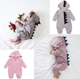 2019 roupa infantil do dinossauro Roupas de bebê Meninos Dos Desenhos Animados Onesies Outono Dinossauro Manga Comprida Criança Romper Moda Infantil Macacão Macacão Queda Bodysuit roupa infantil do dinossauro barato