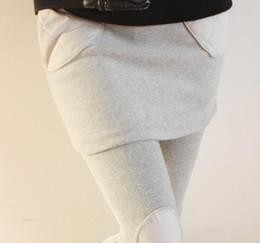 Wholesale Larger Women - 2016 new fashion slim larger elastic waist soft women black light grey nine false two piece mini skirt leggings pants