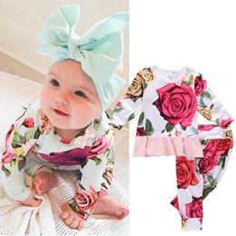 Wholesale Kids Flower Shirts - 2016 flower baby girl suits Newborn Toddler Kids Girls Outfits Clothes O-Neck long sleeve T-shirt Top Dress+Pants 2PCS sweet girls top Set