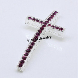 Wholesale Sideways Cross Bracelet Beads - Wholesale 20PCS Metal Curved Sideways Ways Purple Crystal Cross Bracelet Connector Beads Jewelry Findings Free Shipping