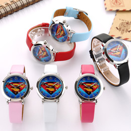 Wholesale New Superman Cartoons - Cartoon Beautiful superman style dial children students Boy's girl's leather quartz wrist watch