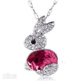 Wholesale Bunny Plates - Free Shipping South Korea fashion jewelry, crystal rabbit necklace,2016 new arrival women bunny short necklace wholesale price