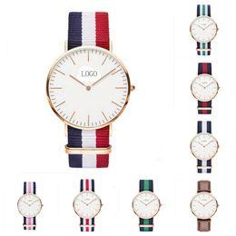 Wholesale Wholesale Super Luxury Watches - Watch Women Luxury Watch Multicolor Stripe Nylon Fabric Canvas Sports wristwatch Men Casual Watch Super Thin Platimum Clock Dress Watches
