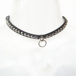 Wholesale Adults Dogs - Fashion Punk Necklace Alternative Torques Gothic Leather Neck Ring for Adult Slave Game Pet Dog Choker Sex Bondage Collar