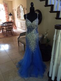 Wholesale Sparkle Diamond Prom Dresses - Sexy blue deep V collar multilayer net sparkling full diamond heavy hand made fishtail skirt Prom Dresses cross strap backpack mail leak