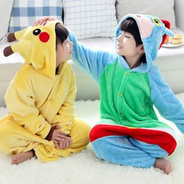 Wholesale Wholesale Kid S Pajamas - Kids Pikachu Pajamas Animal Costume Cosplay Cartoon Poke Jumpsuits Baby Flannel Sleepwear Winter Onesies 5 sizes