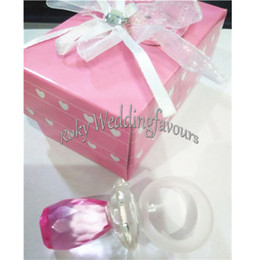 Wholesale Crystal Baby Pacifier Favors - FREE SHIPPING 12PCS Collection Crystal Baby Choice Crystal Baby Pink Pacifier Favors 1st Birthday Party Gifts Baby Shower Idea