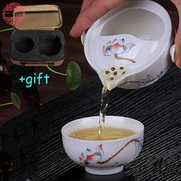 Wholesale Traditional Chinese Tea Set - Wholesale-Upscale Gift Packing Elegant Tureen Include 1 Pot 1 Cup Chinese Traditional teapot kettle Kung Fu Tea Set Porcelain Cup Quik Cup