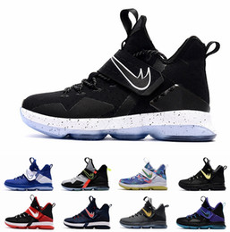 Wholesale Christmas B - 2017 James XIV 14 Mens Basketball Shoes For Men Black Ice Christmas BHM SBR Glow Coast Elite Lebron 14 Athletic Sports Sneakers 7-12