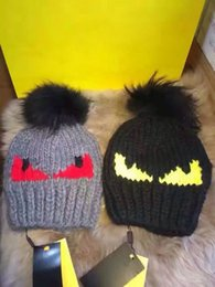 Wholesale Mink Hat Grey - Luxury Brand fox fur pompom hat knitted real mink hat Winter Cap For Women Girls Wool Hat Knitted Cotton Beanies Cap