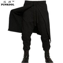 Canada Gros-PUNKOOL 2016 New Hot Cool Hommes Style Gothique Punk Harem Pantalon Pantalon Faux 2 pièces Noir Hiphop Porter Skinny Robe Jupe Pantalon supplier cool skirts Offre
