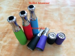 Wholesale D Series Ego Battery - Wax Skillet Atomizer Ego-D Atomizer with Dual Ceramic Rod Coil Multi Color skillet Vaporizer for EGO Series Ego-T Ego-C Ego-VV Battery
