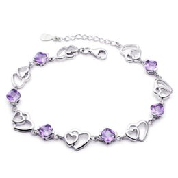 Wholesale Heart Models Cheap - Silver plated double heart-shaped amethyst bracelet fashion female models cute vintage jewelry amethyst jewelry 17.5CM Cheap jewelry spacer
