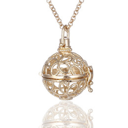 Wholesale Brass Locket Charm - Fashion Love Pearl Beads Cages Hollow Charm Pendant Mountings 3*3.5cm Aromatherapy Diffuser Locket Necklace Free Chain