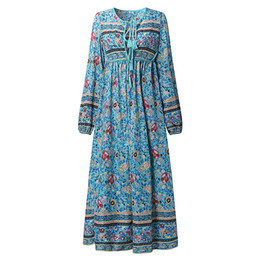 Wholesale ladies midi length dresses - Wholesale- 2017 New Fashion Women Chiffon Floral Long Maxi Dress Boho Loose Beach Midi Sundress Ladies Kaftan Pullover Long Sleeve V Neck
