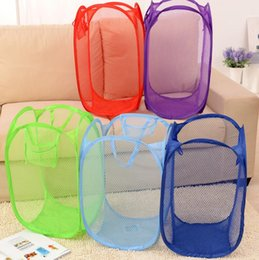 Wholesale Wholesale Supply Clothing - Foldable Mesh Laundry Basket Clothes Storage supplies Pop Up Washing Clothes Laundry Basket Bin Hamper Mesh Storage Bag KKA2306
