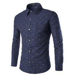 Рубашки для мужчин бесплатно онлайн-Wholesale-Free Shipping Fashion long sleeve striped spread collar tie printed pattern dress shirt for business men Blouse Top M-3XL
