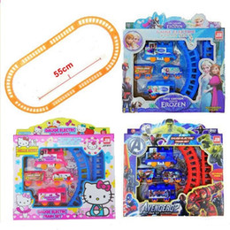 Wholesale Baby Tracking - Frozen Spiderman Kitty Electric Train Track Set Baby Boys Girls Educational Toy Splicing Rail Train Toddler Gift Kids Toys Scale Models