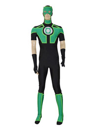 Wholesale Green Lantern Zentai Costume - New Style Black Ahd Green Lantern Short Sleeves Superhero Costume Halloween Party Cosplay Zentai Suit