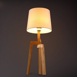 Wholesale Fabric Table Clothes - Vintage Creative Bedside Lamp Northern Europe Home Decor Fabric Lampshade Clothes Shop Living Room Bedroom Wood Art Table Lamp