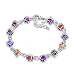 Wholesale Wholesale Fishing Hooks China - Brand New 925 Silver Bracelet Bangle Shinny Colorful Squares Charm Link Bracelets Fashion Silver 925 Jewelry 10 Piece Sale Factory Price
