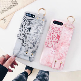 Wholesale Headband Covers - Printed tiger headband hanging buckle phone case for iphone X 7 7plus 8 8plus wristband hard shell back cover for iphone 6 6S 6plus