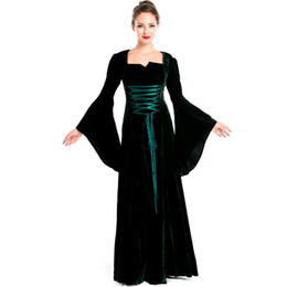 Wholesale Victorian Costumes Women - New Arrival Vintage Medieval Renaissance Victorian Luxury Cosplay Costumes Women Halloween Witch Lace-Up Front Fancy Long Dress A158738