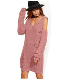 Wholesale Trendy Women S Sweaters - 2017 new Women Long Knitted Sweater Fashion hole off shoulder Sweater Dresses Trendy Long Sleeves Casual Loose Knitwear 4 colors