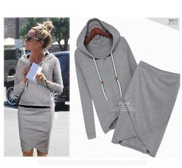 Wholesale Plus Size Sport Set - Hot!!!2016 Long Sleeve Hooded Women Tracks Sweatshirt Skirt 2 piece set piece set women Hoodie Plus Size 4xl Sport Suit Hoodies Women