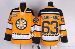 Wholesale Fan Goods - Newest Boston Bruins Jerseys #63 Brad Marchand Yellow Jersey Ice Hockey Winter Classic For Sport Fans 100% Stitched Good Quality