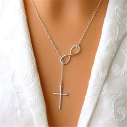 Wholesale Infinity Necklaces For Women - Cross Pendant Necklaces Infinity Pendants Necklace Charms 925 Silver Plated Fashion Jewelry for Women Ladies Wedding Party Events new