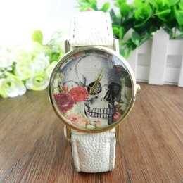 Wholesale Skull Head Candy - Hot Sale Geneva Brand Vintage Watch Skull Heads Watches Women Candy Color Leather Quartz Wrist Watch