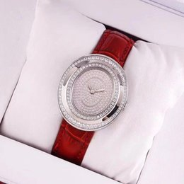 Wholesale Genuine Blue Sapphire - High quality AAA women watches Luxury brand Full diamond dial Sapphire Genuine Leather Quartz wrist watch for lady female girls best gift