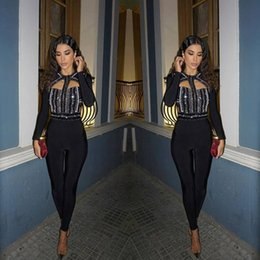 Wholesale Tight Party Jumpsuits - 2017 Kim Kardashian winter new bandage jumpsuit elastic tight nightclub ladies birthday party pants sexy beaded diamond hollow romper PF-022