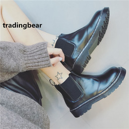 Wholesale Roman Style Boots - New chelsea boots for womens black PU leather shoes casual style quality highly recommend 2018