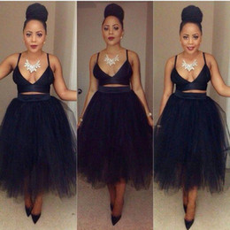Wholesale two piece dresses tulle skirt - 2016 Cheap Black Women Short Cocktail Dresses Tulle Skirts High Qaulity Material Evening Dress Party Wear Cocktail Gowns