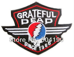 Wholesale Rock Band Patches - GRATEFUL DEAD Skull Shield Music Band Heavy Metal Iron On Sew On Patch Tshirt TRANSFER MOTIF APPLIQUE Rock Punk Badge Party Favor