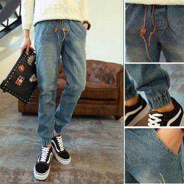 Wholesale Dhl Jeans - Men's Narrow-cut Drawstring Fitted Jeans Fashion Elastic Joggers Pants Skinny Ripped Harem Pant Plus Size S-4XL Free Shipping DHL