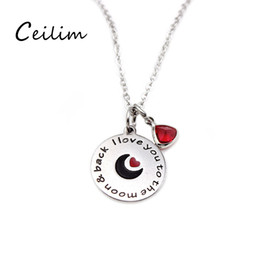 Wholesale Heart Shaped Crystal Box - Thanksgiving Day gift word charms I love you round pendant & triangular crystal charm necklace with moon & red heart-shape with gift box