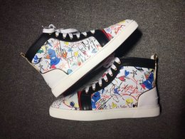 Wholesale Popular Fabric Prints - Popular 18s Collection Graffiti Patent Leather Black,White High Top Sneaker Shoes,Outdoor Red Bottom Luxury Women,Men Party Dress Size 35-47