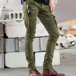 Wholesale Green Cargo Skinny Pants - Hi Street Mens Cargo Jeans Designer Muli Pockets Zippers Skinny Elastic Runway Biker Motorcycle Denim Pants